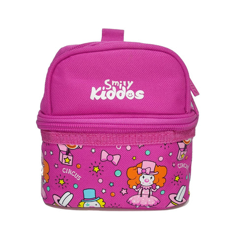 Image of Smily Dual Slot Lunch Bag Pink