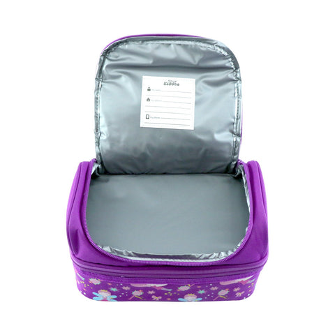 Smily Dual Slot Lunch Bag Purple