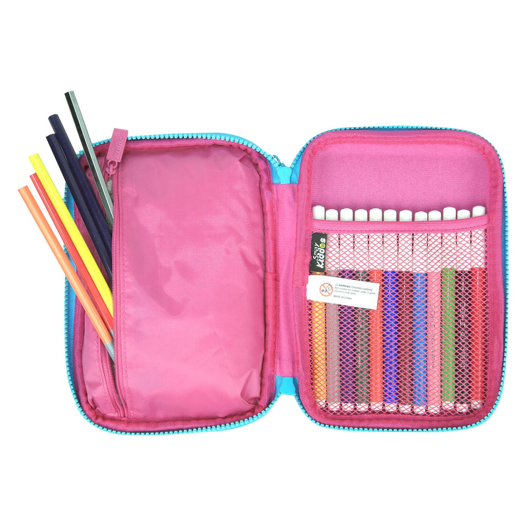 Fancy Double Compartment Pencil Case (Pink)