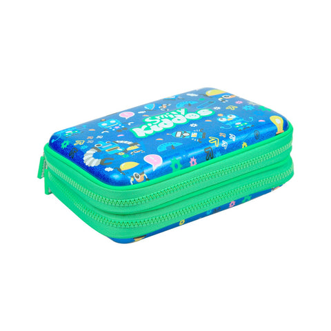 Image of Fancy Double Compartment Pencil Case (Blue)
