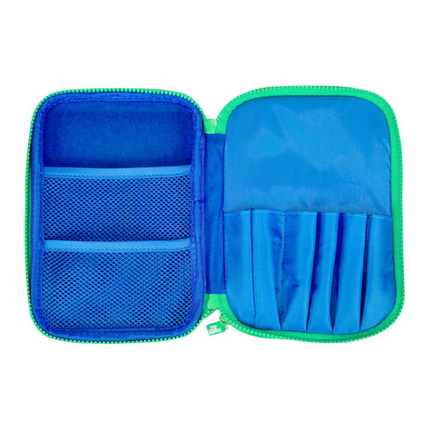 Fancy Double Compartment Pencil Case (Blue)