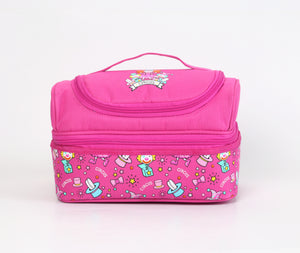 Smily Dual Slot Lunch Bag Pink