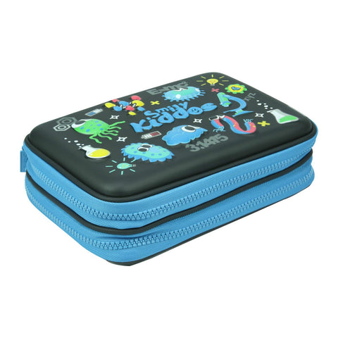 Image of Smily Double Compartment Pencil Case Black
