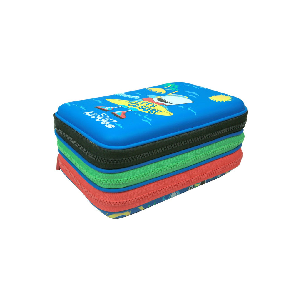 Smily Hartdtop Triple Up Pencil Case Blue