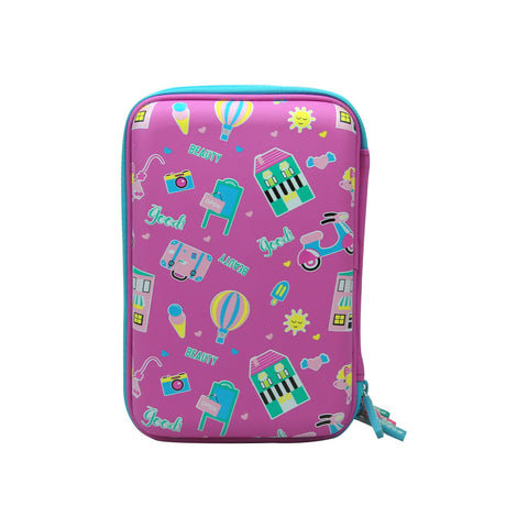 Smily Hartdtop Triple Up Pencil Case Purple