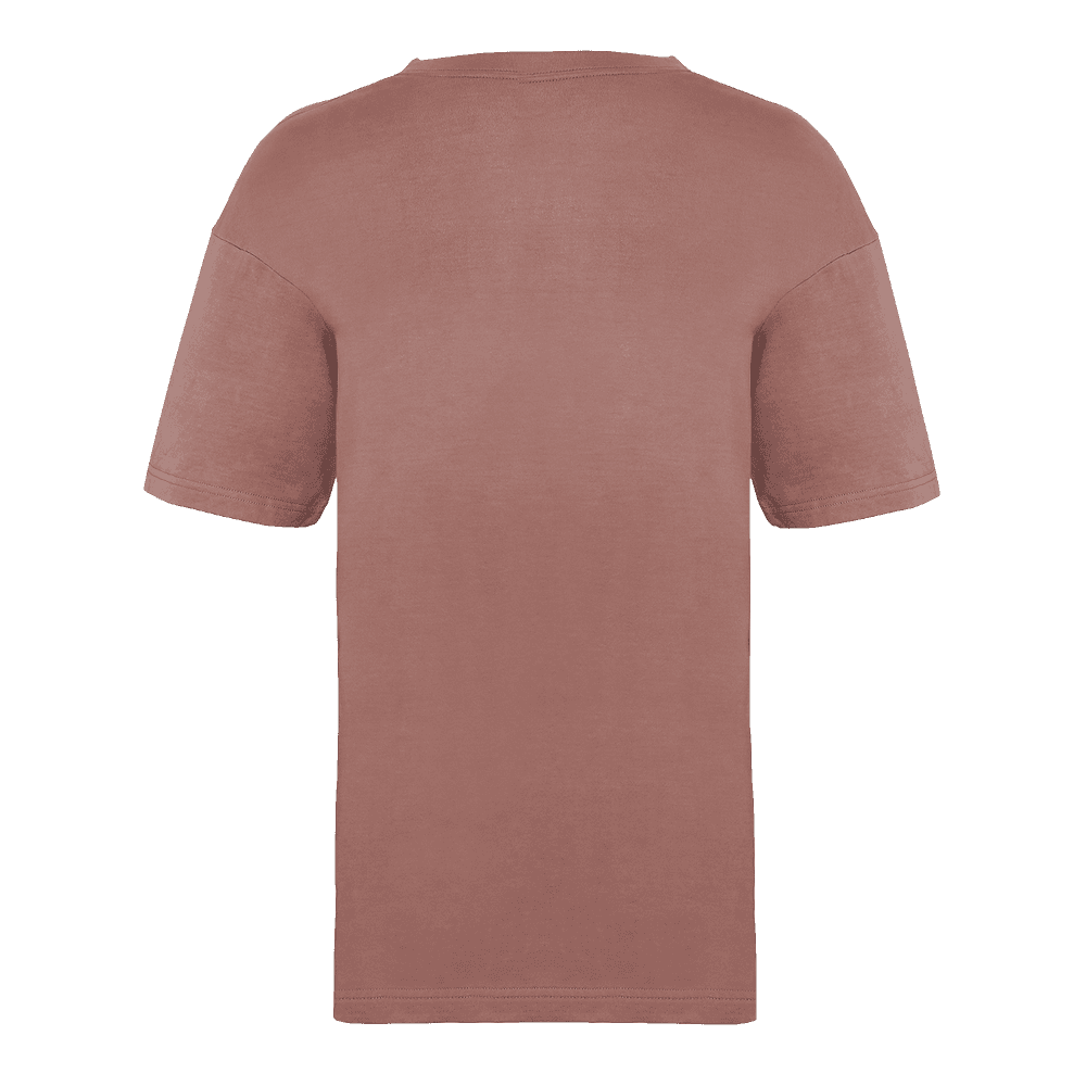 Back side of the Over-sized Faded effect Ash rose colored short sleeved t-shirt.