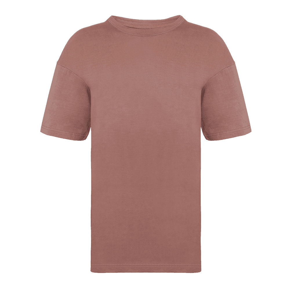 Over-sized Faded effect Ash rose colored short sleeved t-shirt.