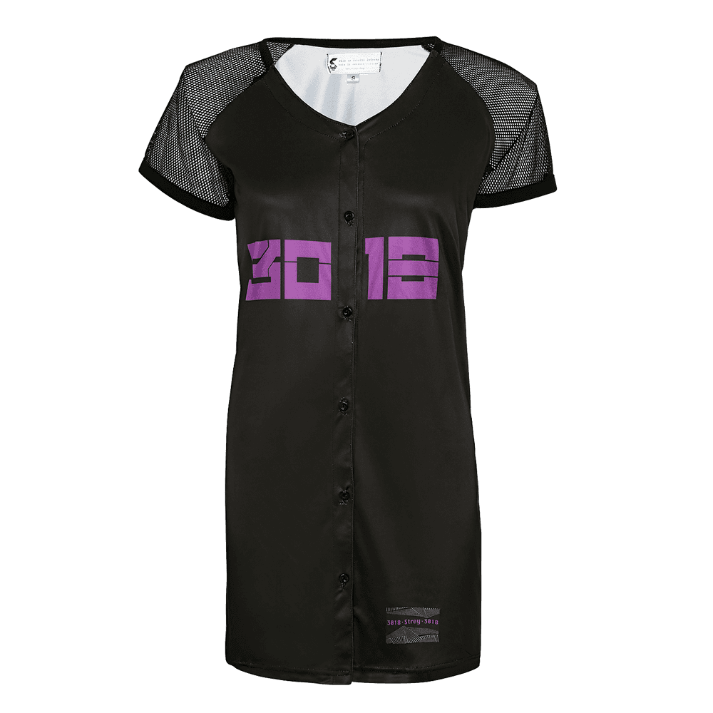 Black polyester short sleeve women jersey dress.