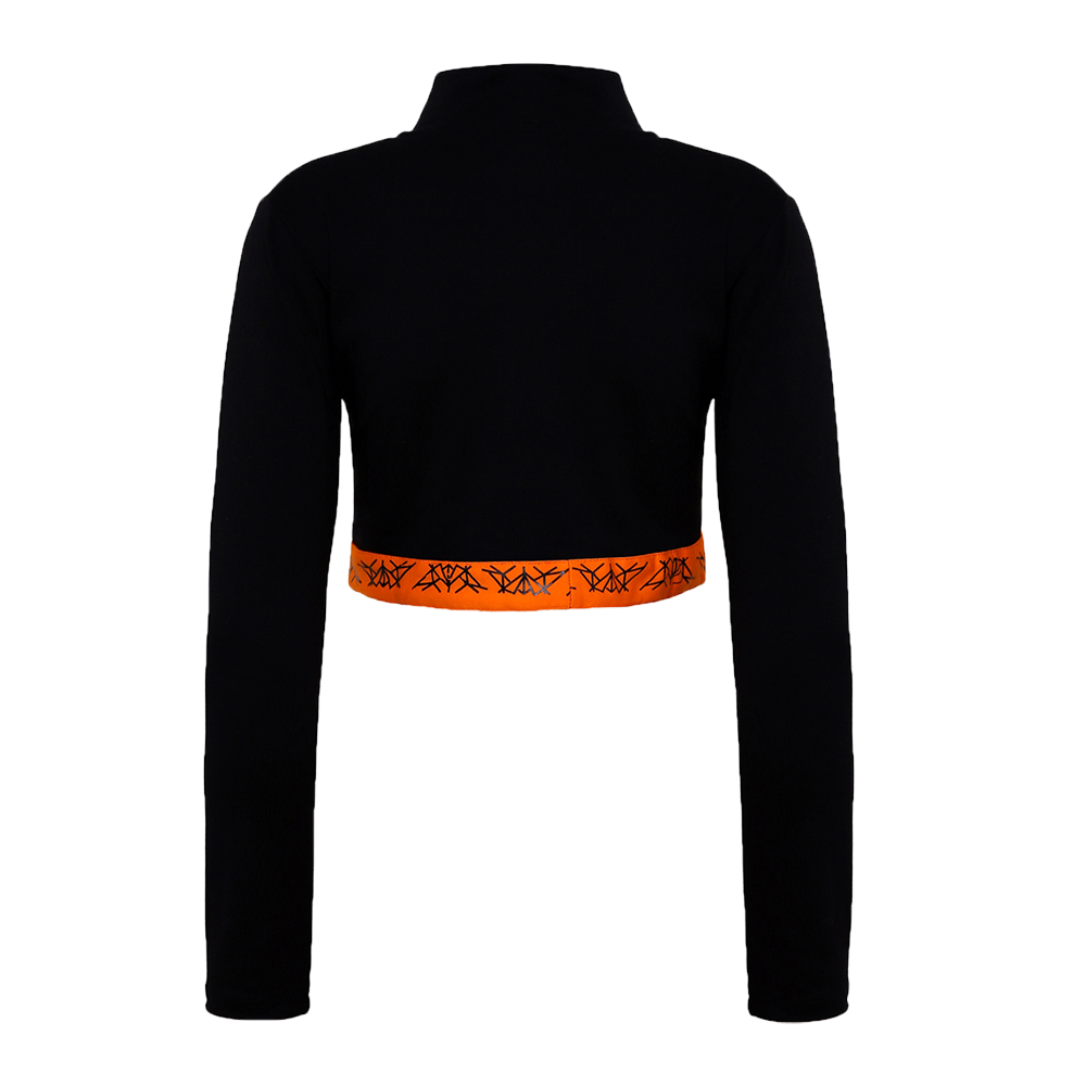 Back side of black orange full sleeves crop top with orange band at the waist