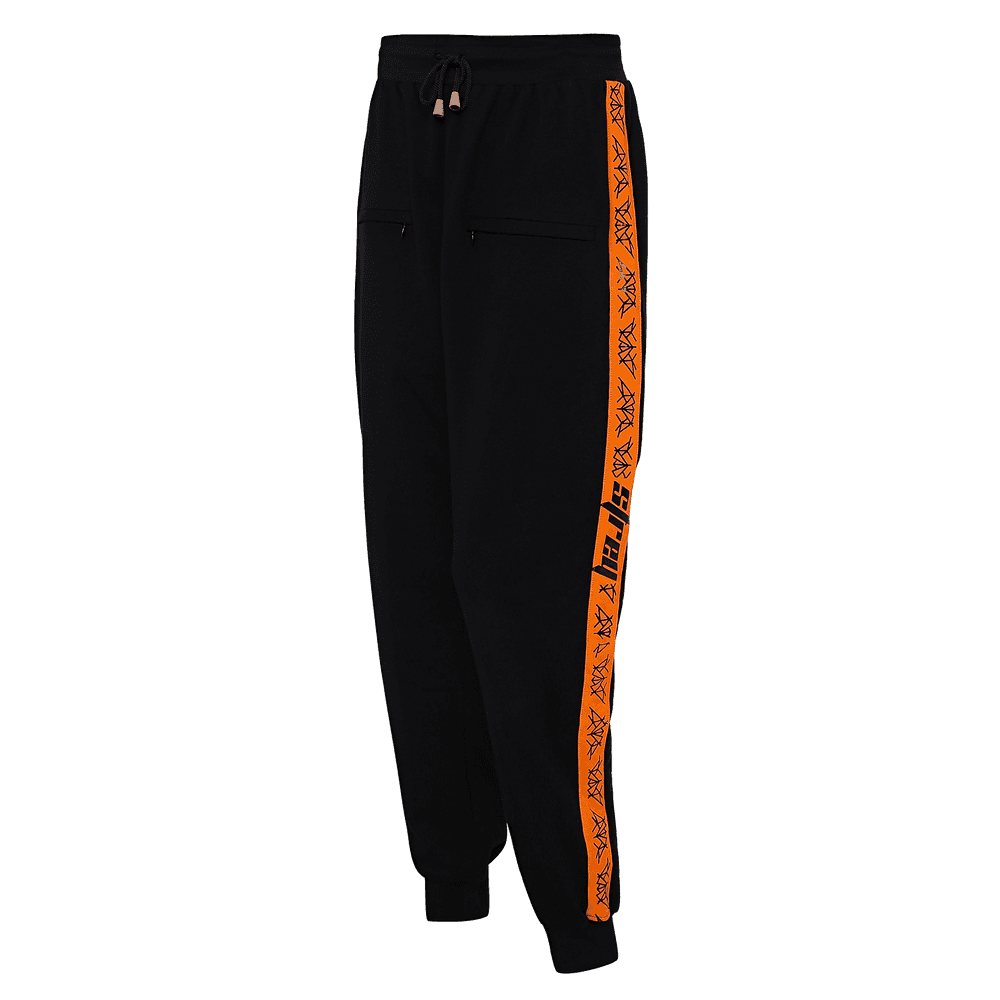 Black and orange track pants with orange strips on the sides.