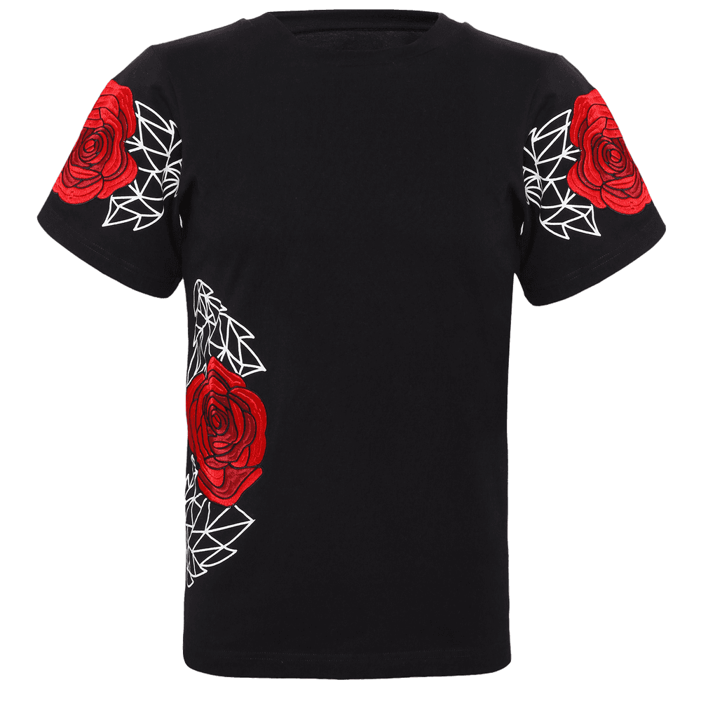 Black short sleeve T-shirt with Geometric designs and roses on the sleeves and right side of the top with a round neckline