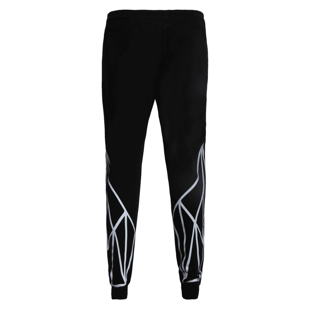 Back side of black track pant featuring an elastic with drawstrings front pockets and strey logo above the left pocket with geometric designs on the lower leg.