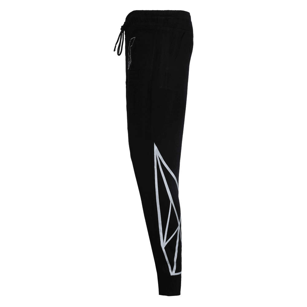 Side view of black track pant featuring an elastic with drawstrings front pockets and strey logo above the left pocket and geometric design on the lower leg.