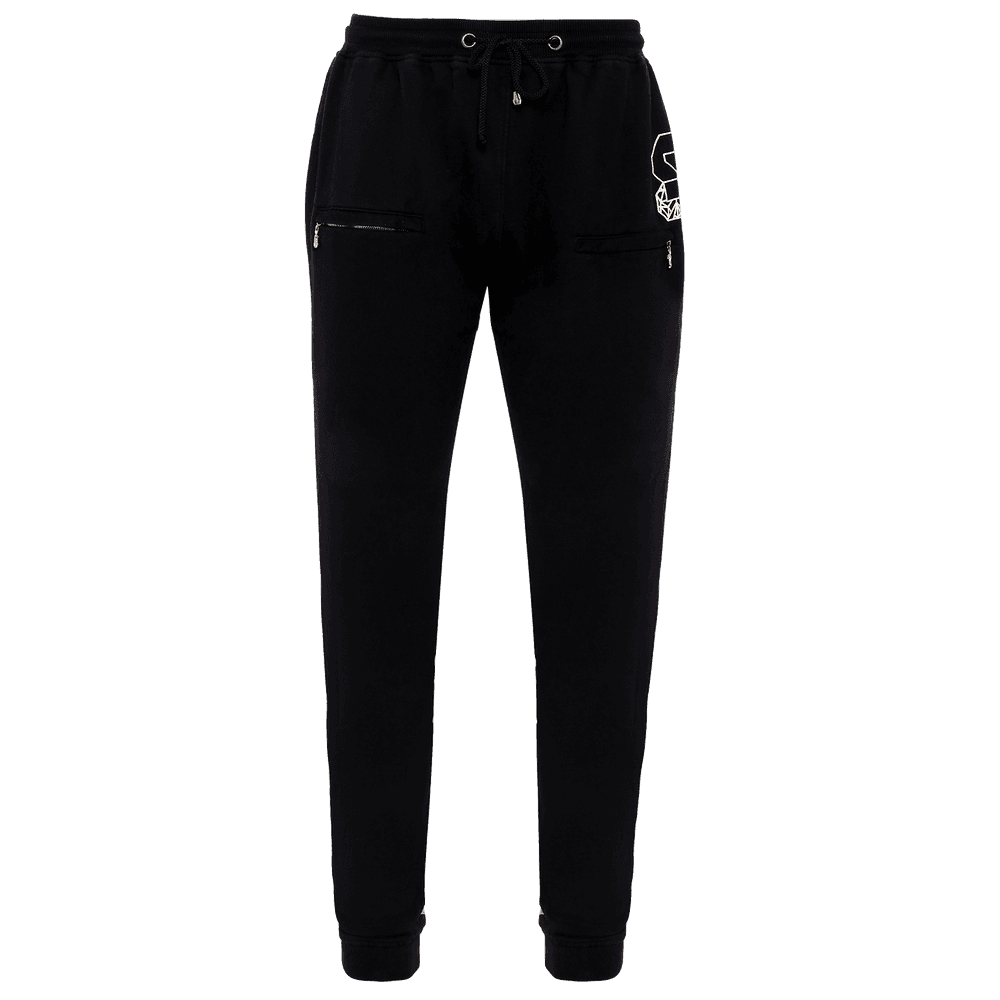 Black colored track pant for men featuring an elastic waist with adjustable drawstrings and front pockets with the logo right above the left pocket. Also with elastic at the ankles.