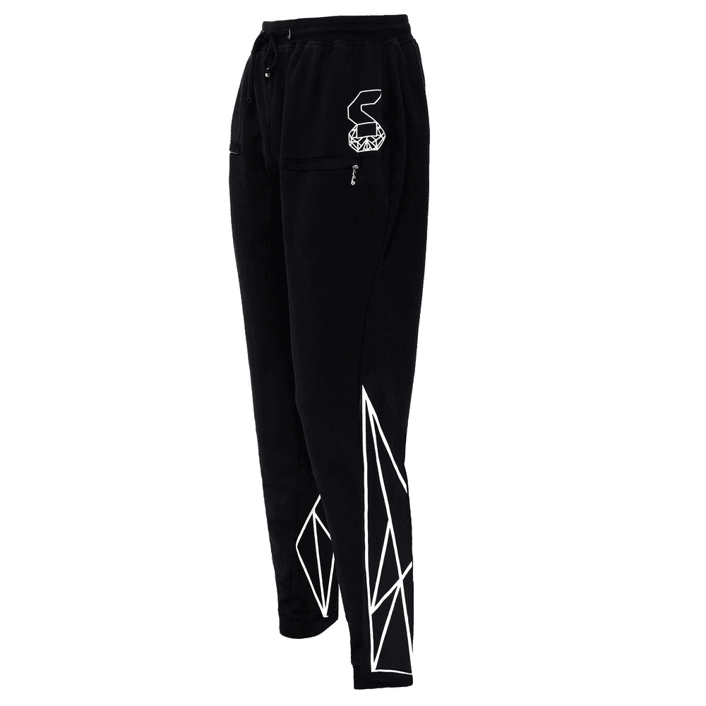 Side view of the Black colored track pant for men featuring an elastic ankles and waist with adjustable drawstrings and front pockets with the logo right above the left pocket. and geometric designs at the back of the track pant on the lower leg