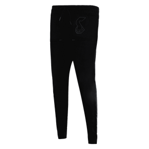 black track pant featuring an elastic with drawstrings front pockets and strey logo above the left pocket