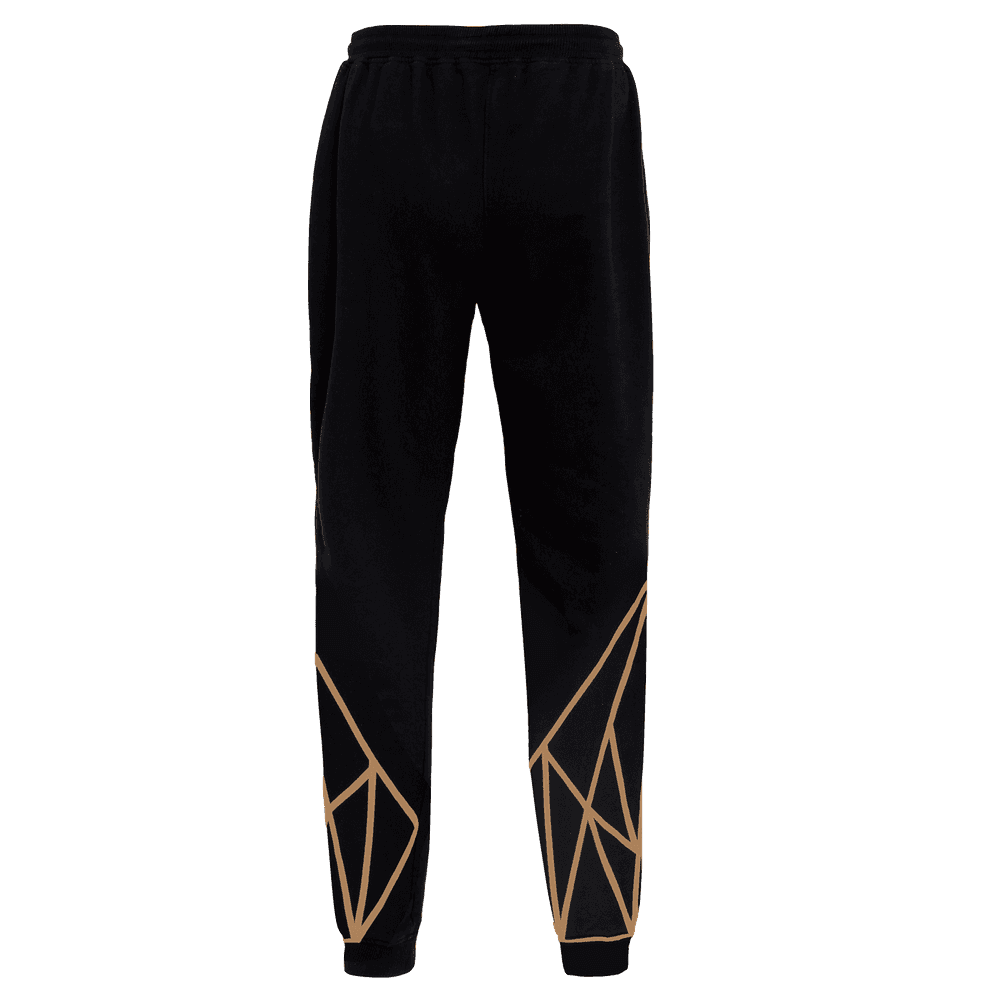 Back side of the Black colored track pant for women featuring an elastic ankle and waist and geometric designs on the lower leg.
