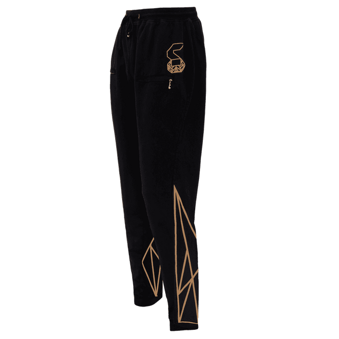 Black colored track pant for women featuring an elastic ankles and waist with adjustable drawstrings and front pockets with the logo right above the left pocket and geometric designs at the back of the track pant on the lower leg.