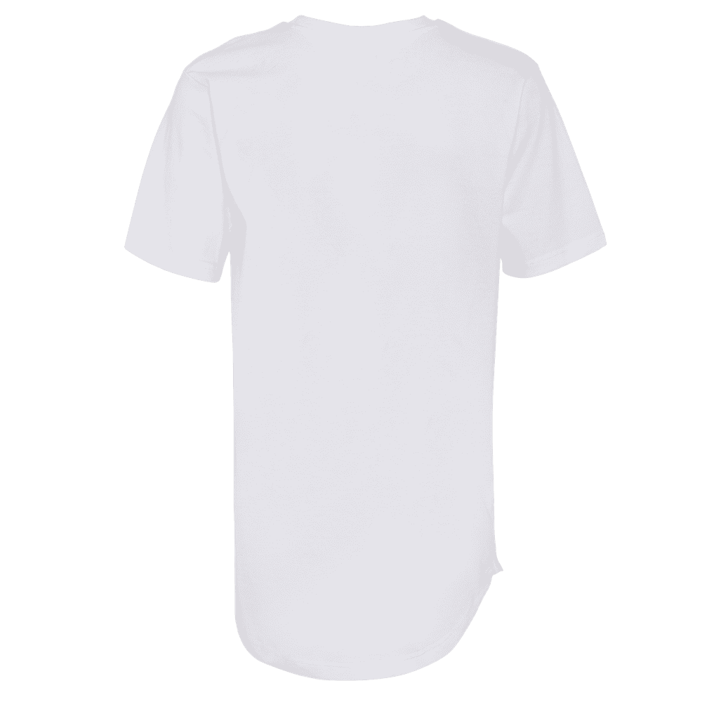 Back side of a white round neck short sleeve elongated T-shirt