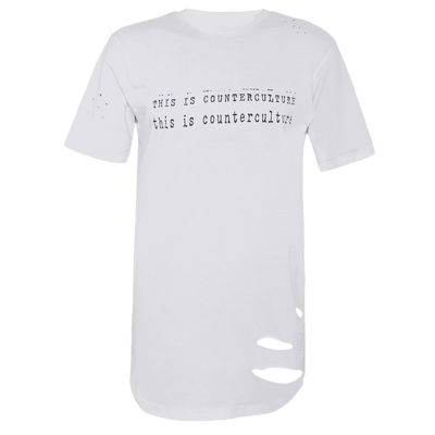 White round neck short sleeve elongated T-shirt with This is counterculture printed on it.