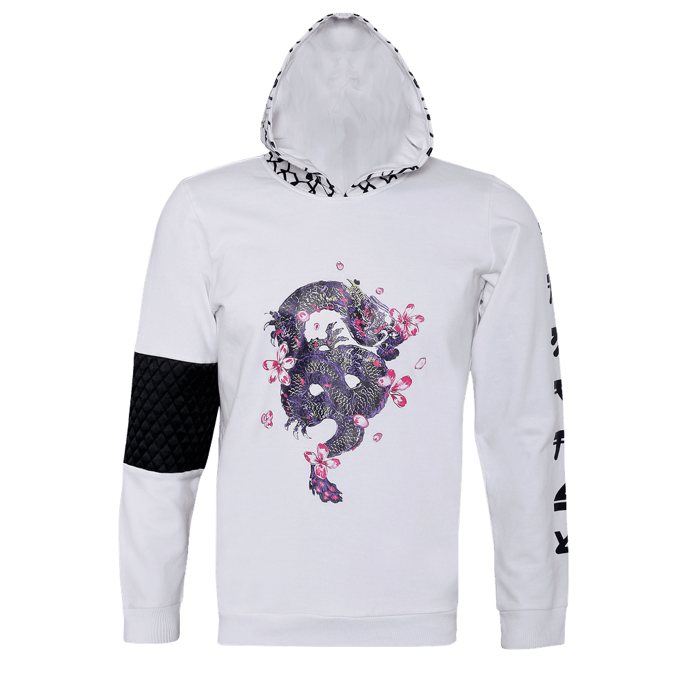 White hoodie with full sleeves and a printed cap with a dancing dragon printed in the front and on the right sleeves there is a black checked patch and on the left there is something written on it.
