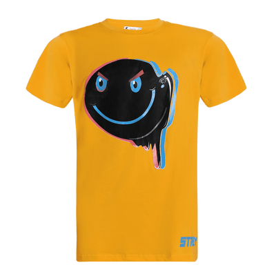 Yellow round neck short sleeve regular fit T-shirt with a dripping smile printed on it.