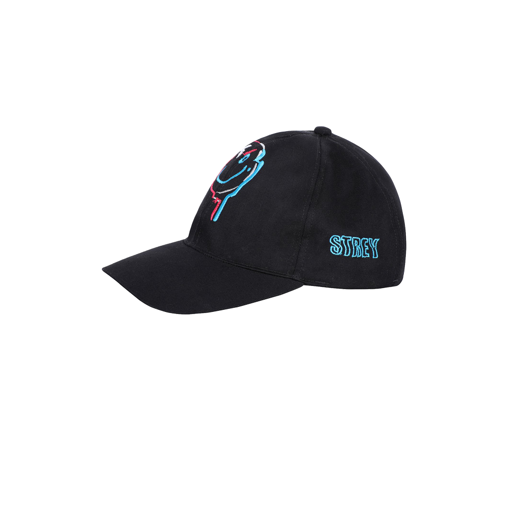 Embroidered drip smile cap side view