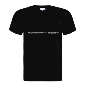Black regular fit short sleeve round neck T-shirt with a lots of f printed and ripped in the center