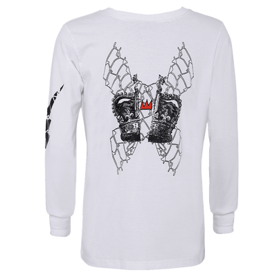 white round neck full sleeve T-shirt with elastic on the wrist and a crown printed in the center.