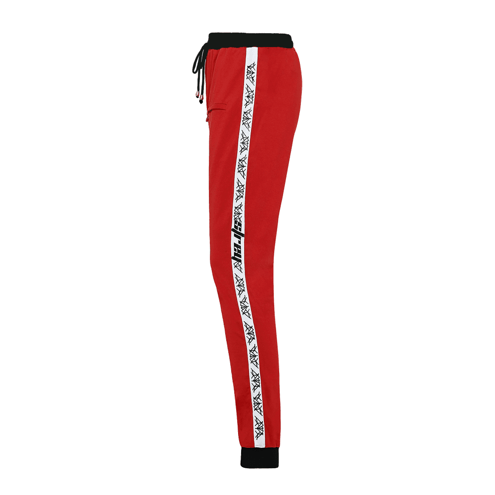Side view of a red track pant for men featuring an elastic waist with adjustable drawstrings and front pockets with white strips on the side.