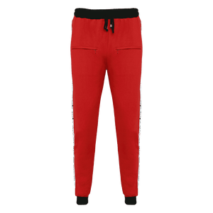 Red track pant for men featuring an elastic waist with adjustable drawstrings and front pockets with white strips on the side.