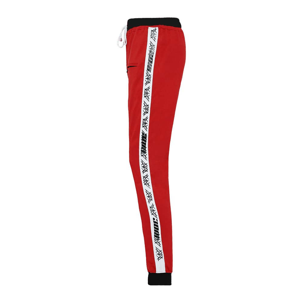 Side view of a red track pant featuring an elastic waist with adjustable drawstrings and front pockets with white strips on the side.