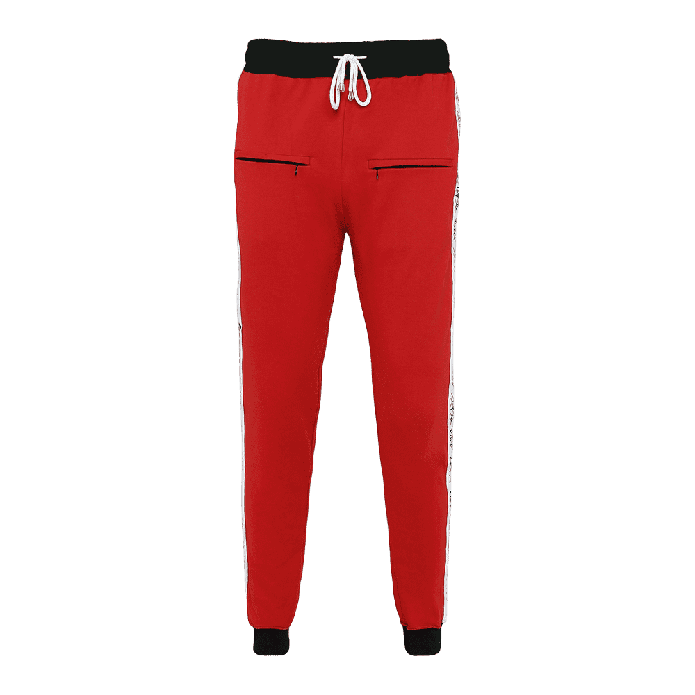 Red track pant featuring an elastic waist with adjustable drawstrings and front pockets with white strips on the side.