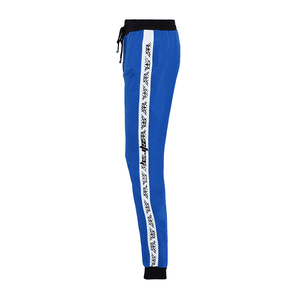 Side view of Blue track pant featuring an elastic waist with adjustable drawstrings and front pockets with white strips on the side.
