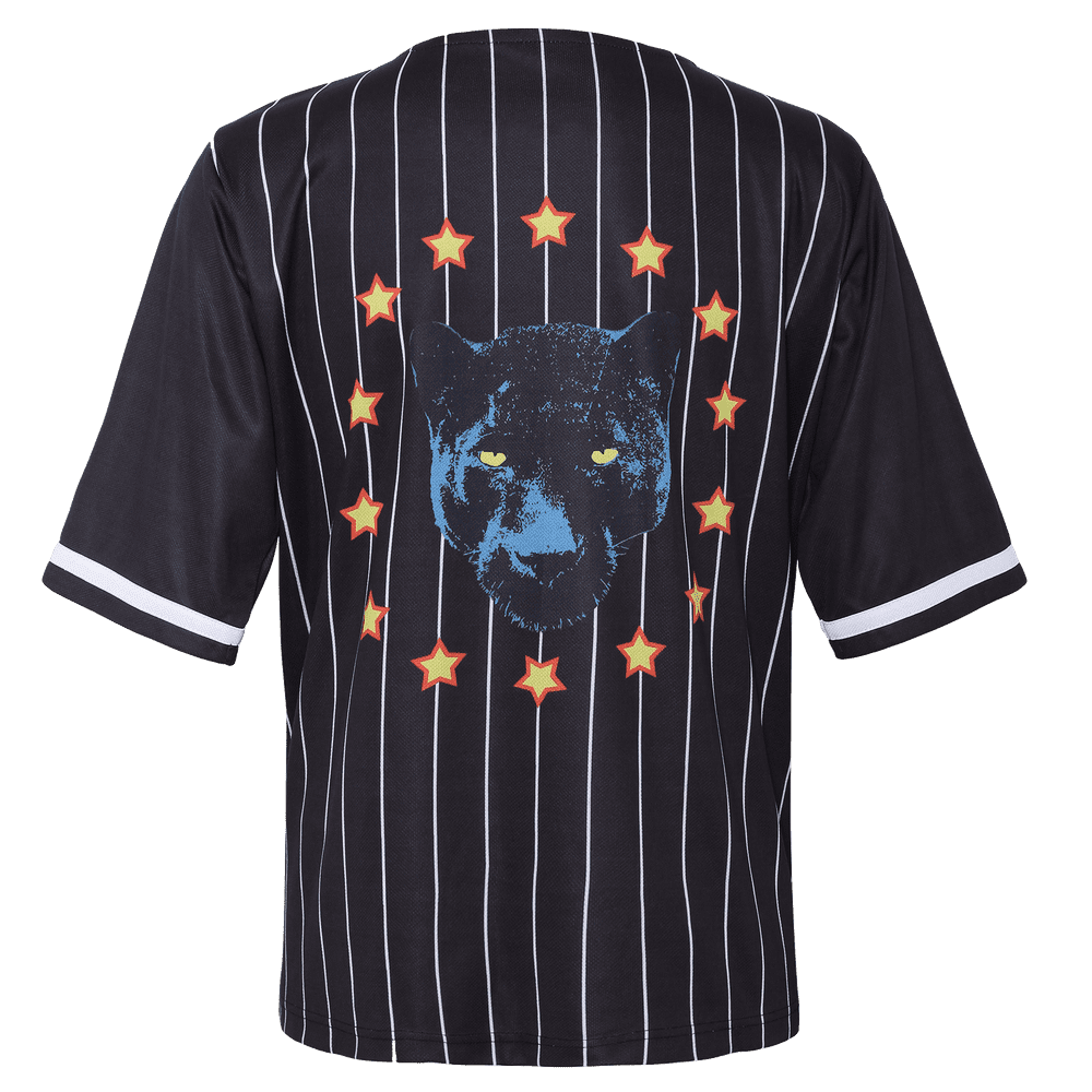 Back side of black stripped v neck short sleeve baseball jersey for men with panther and stars printed on the back