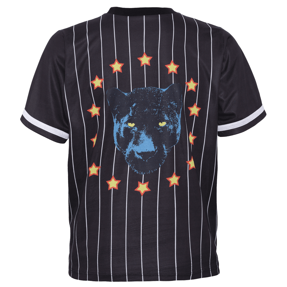 Back side of black stripped short sleeve baseball jersey for women with panther  and stars printed on the back.
