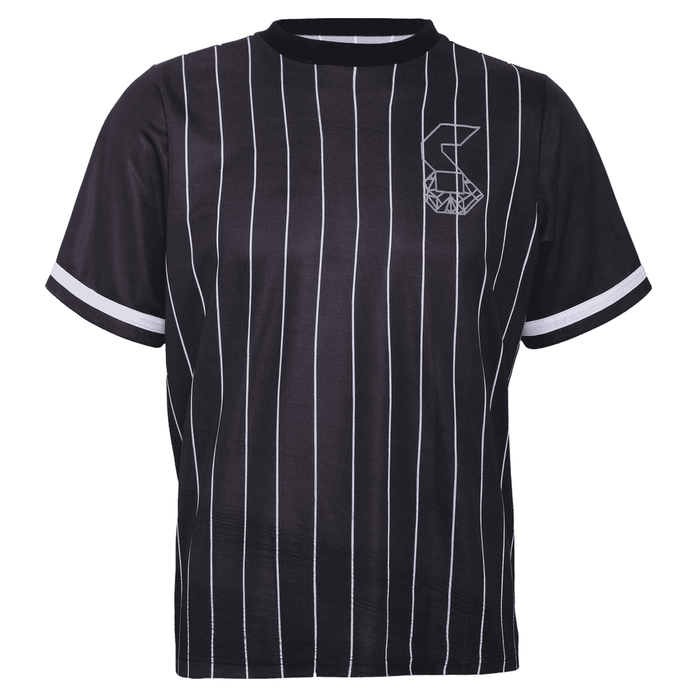 Black stripped round neck short sleeve baseball jersey for women with strey logo on the left.