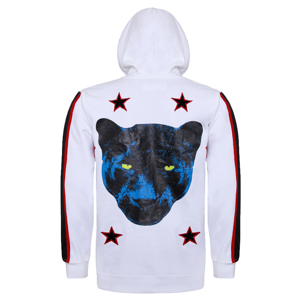 Back side of white full sleeve hoodie with drawstrings in the cap and black and red strips on the sleeves and also a panther printed on the back
