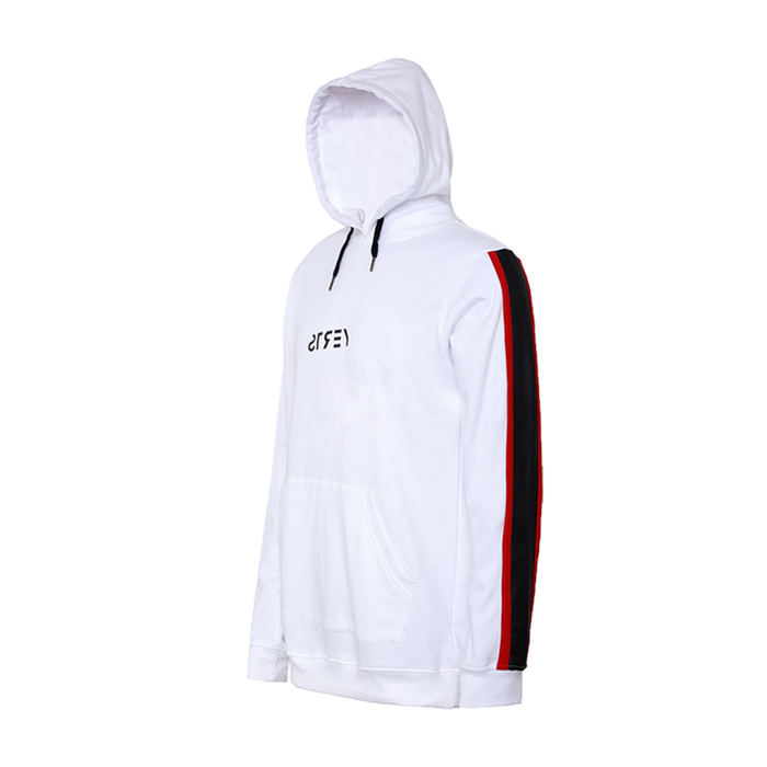 white full sleeve hoodie with drawstrings in the cap and black and red strips on the sleeves
