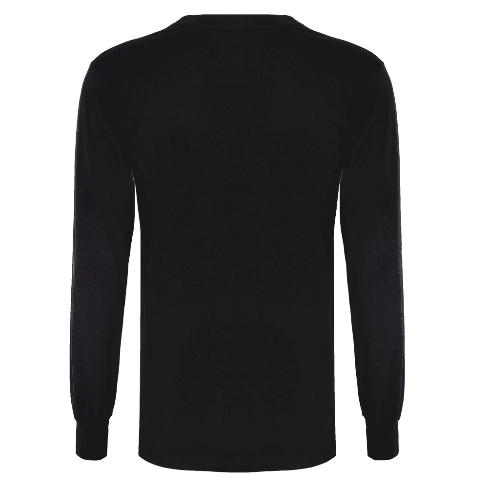 Back side of a Black full sleeve round neck T-shirt with Elastic around the wrist