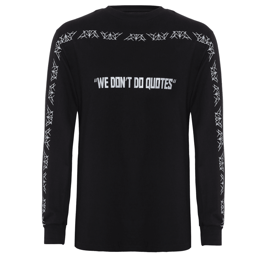 Black round neck full sleeves T-shirt with elastic around the wrist and text printed on the center with some design running around the sleeves and the neckline.