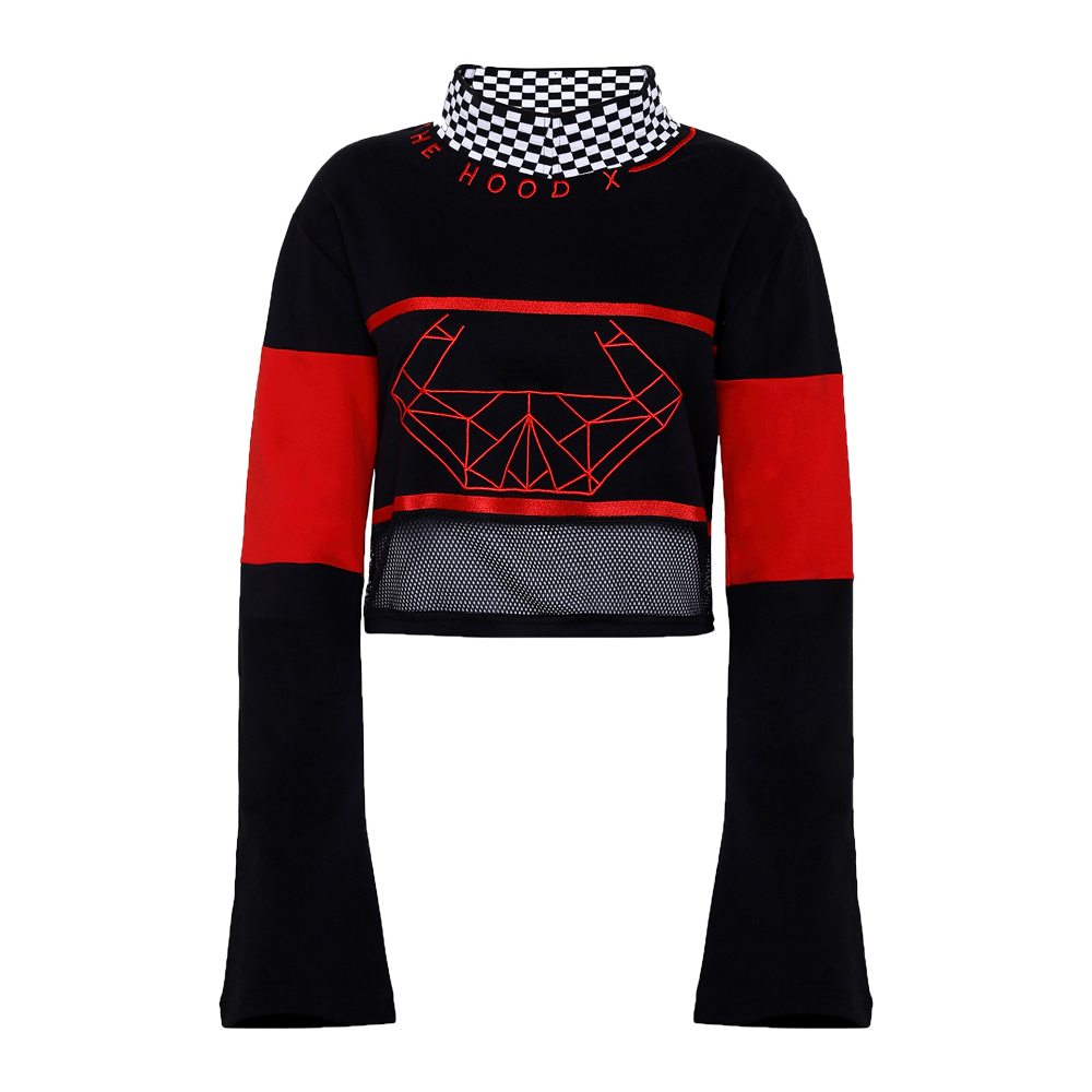 Red and black colored crop top with checked on the neck and net on the bottom of the top and bell sleeves.