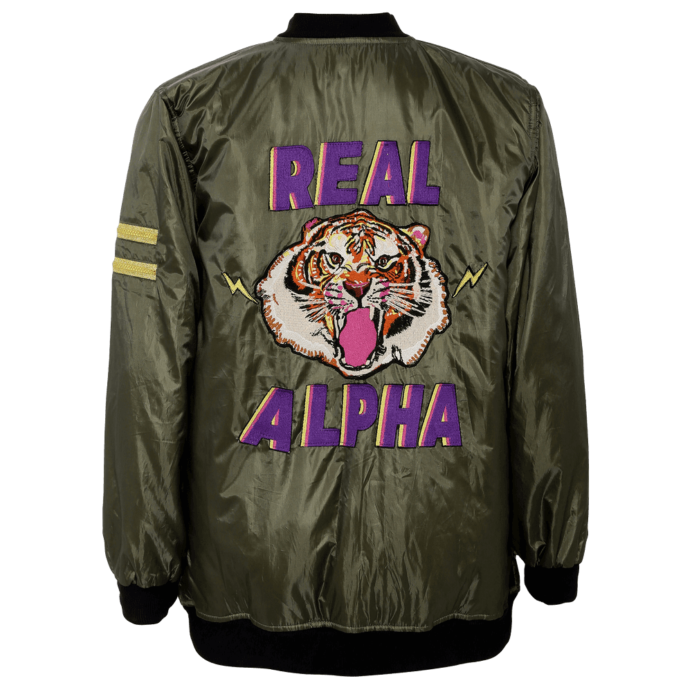 olive green and black jacket with a tiger printed on the back and real alpha printed on it.
