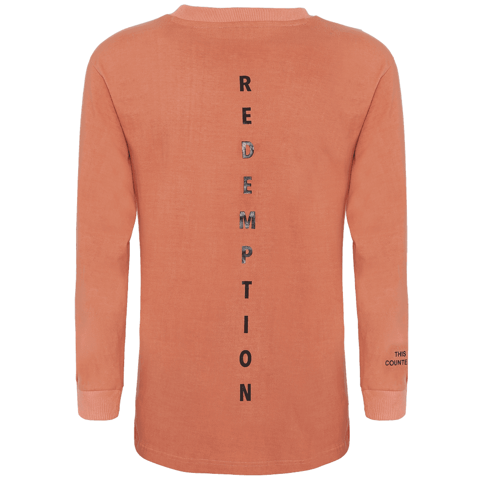 back side of pink full sleeve round neck T-shirt with REDEMPTION written vertically.