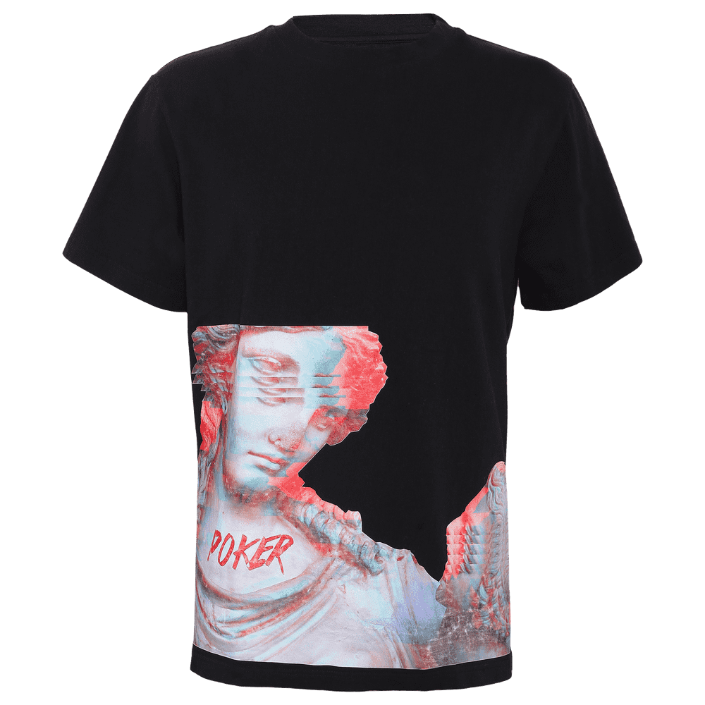Black round neck regular fit short sleeve T-shirt with some roman idol printed on it with poker written on the same.
