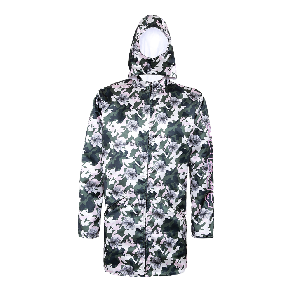 printed green and white unisex hoodie with strey written on the sleeves and pockets in the front