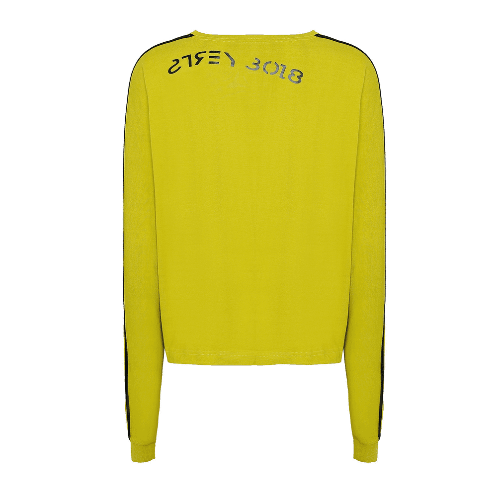 back view of yellow round neck full sleeves T-shirt with white strips on the sleeves and strey 3018 written on it