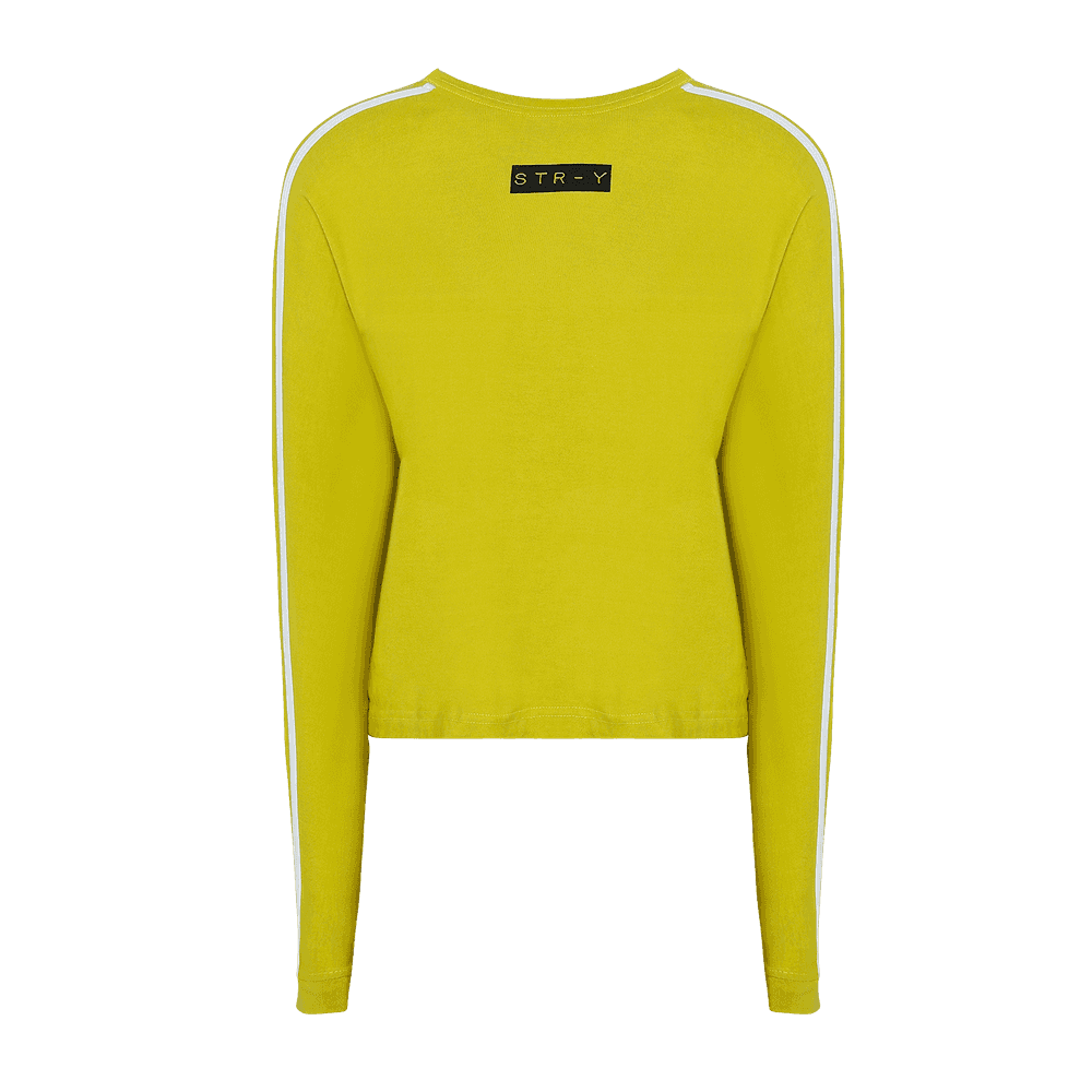 yellow round neck full sleeves T-shirt with white strips on the sleeves and str-y written on it