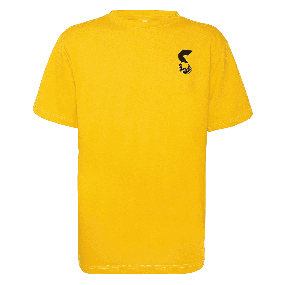 Yellow round neck short sleeves regular fit T-shirt.