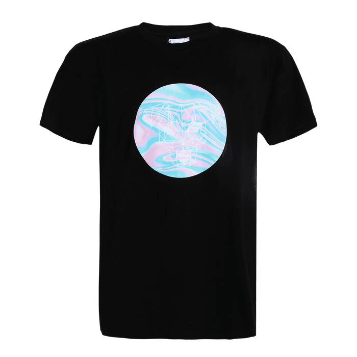Black short sleeve regular fit round neck T-shirt with Strey dog printed on it inside a circle.